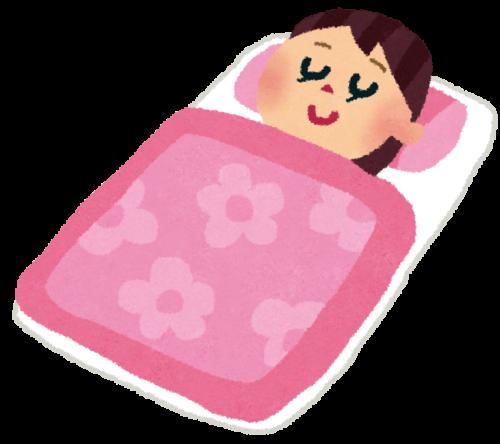 仰向けで寝ている女性
