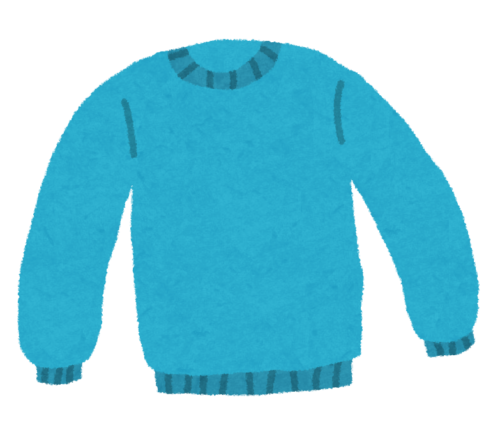 部屋着の青いスウェット
