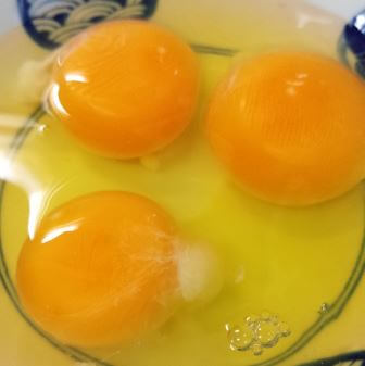 カラザがついているままの生卵が入ったうつわ