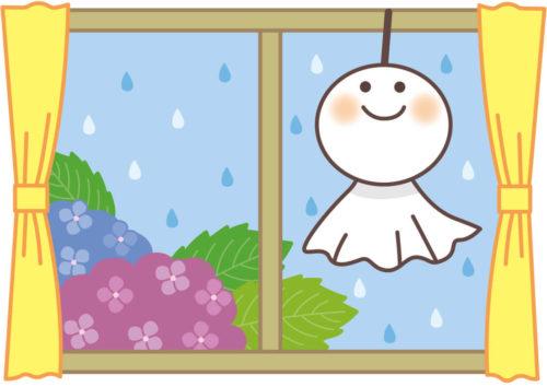 雨の日に自宅の窓辺にてるてる坊主を飾っているイラスト