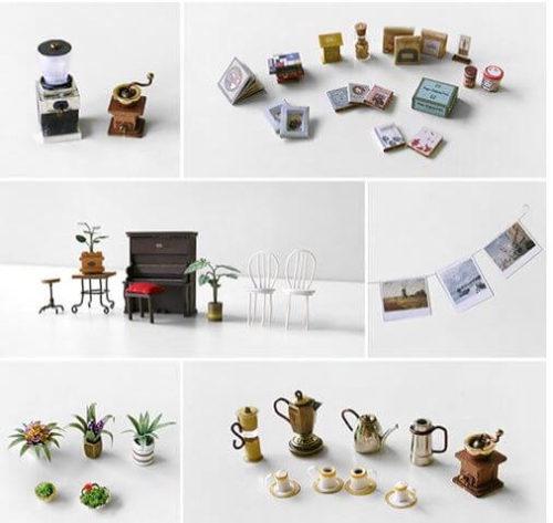 ミニチュアキット カフェの小物たち