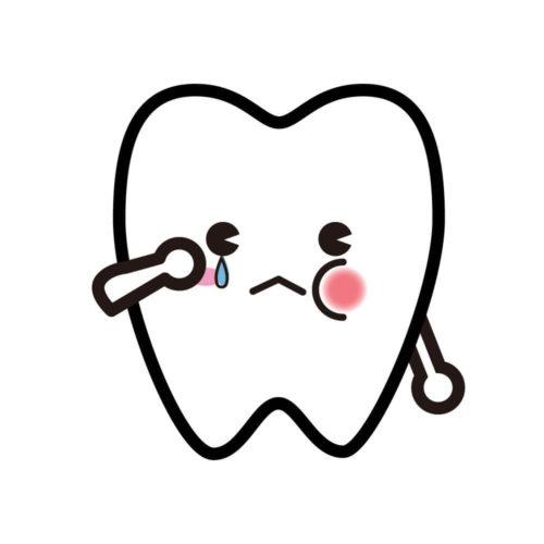 他の歯の根っこが折れてしまったことで泣いている歯のイラスト