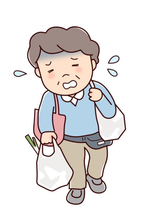 車がなくてスーパーで購入した食品を持って帰るのに大変な男性