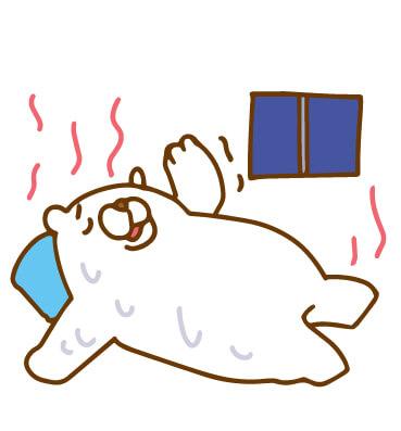 熱帯夜に疲れている白クマのイラスト