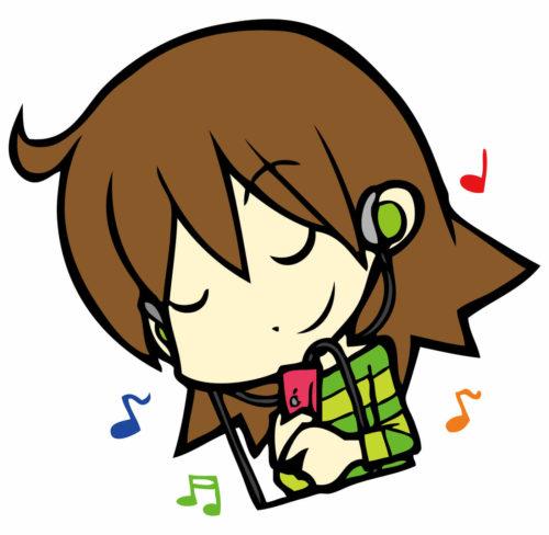 耳かけ式ヘッドホンで音楽を聴いている女性