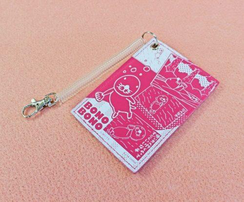 「ぼのぼのパスケース」ピンク色の裏側にして置いている