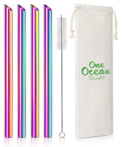 タピオカミルクティー用ステンレススチールマイストロー 虹色 洗浄用ブラシ付き