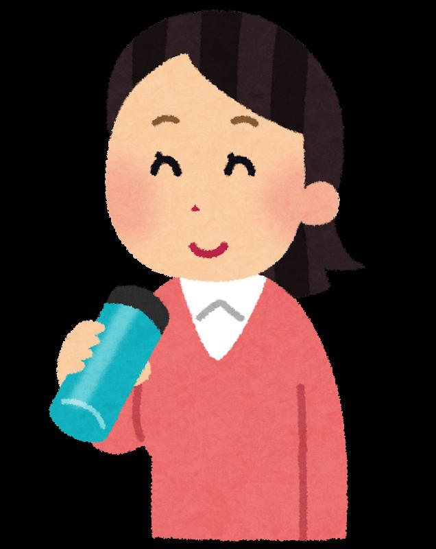 小さい水筒を飲んでいる女性のイラスト