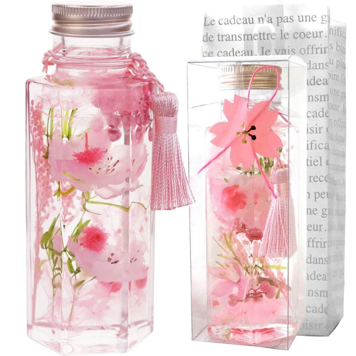 花まりか ハーバリウム 桜ハーバリウムSの六角ボトル