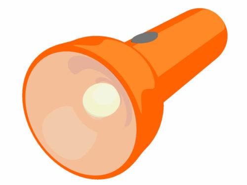 オレンジ色の大きな懐中電灯