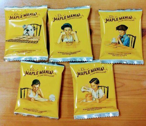 メープルバタークッキーの5種類のパッケージ